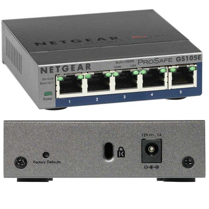 Netgear Switch - Periféricos de red - Netgear Switch GS105E-200PES negro