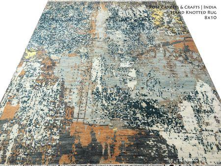 Indian Hand Knotted Contemporary Style Wool / Silk Rug - 8x10 Size Hand Knotted Contemporary Style Carpet in Wool & Viscose Silk Pile