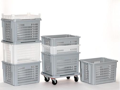 Cajas de plástico apilables y encajables - 620x500mm, 100L