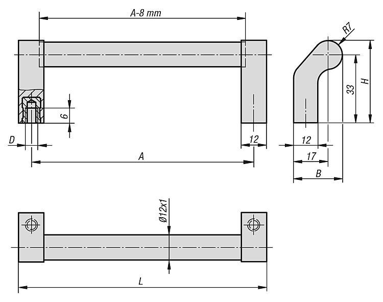Poignée tubulaire coudée - Poignées de manutention, poignées tubulaires et poignées alcôve