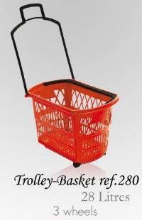 Trolley Basket - 28 Litres (3 wheels) -