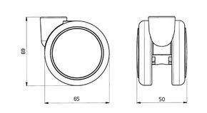 "Reinforced copolymer ""H"" type hard treads ADAPTO® Ø 23 - CASTOR EMI Ø mm. 65 ""GEMIOPEN"" + ""ADAPTO""®"