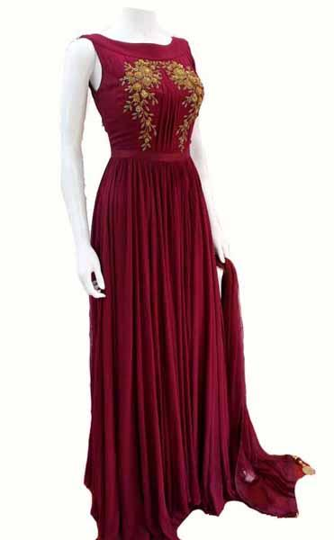 Full Flair Wine Color pure Georgette Gown