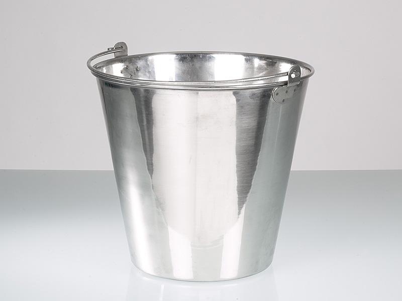 Seaux acier inoxydable - Fournitures pour laboratoire et industrie, poli haute brillance, 10 l, 15 l