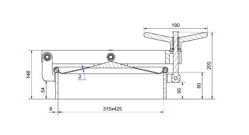 Porte rectangulaire ouverture extérieure - Porte rectangulaire 316 x 422 mm verticale bras en U - H05-123-80