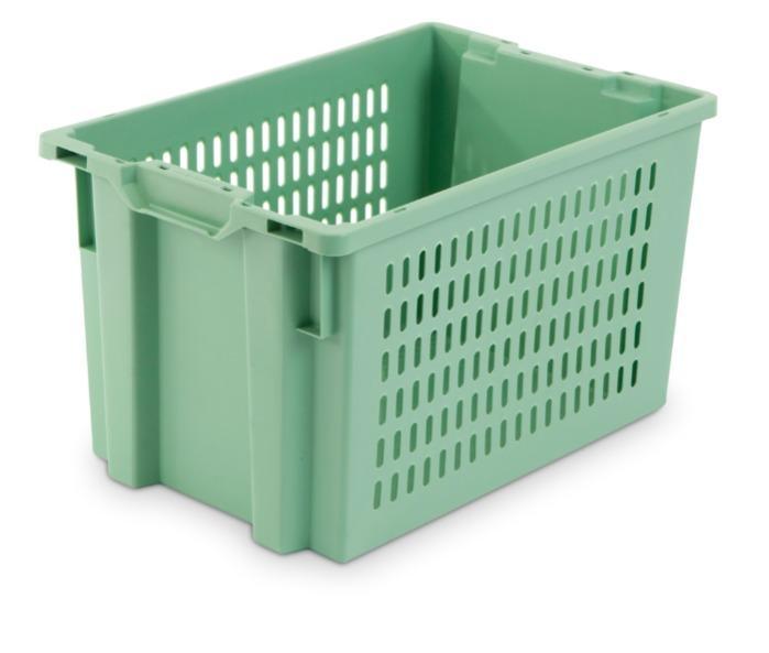 Contenitore in plastica inserible e sovrapponibile  - senza apertura nelle maniglie, 66L (chiuso  e /o forate)