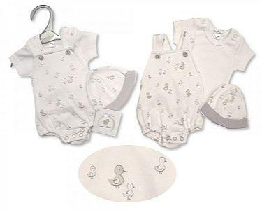 Premature Baby Dungaree Set with Hat - Little Ducklings  -