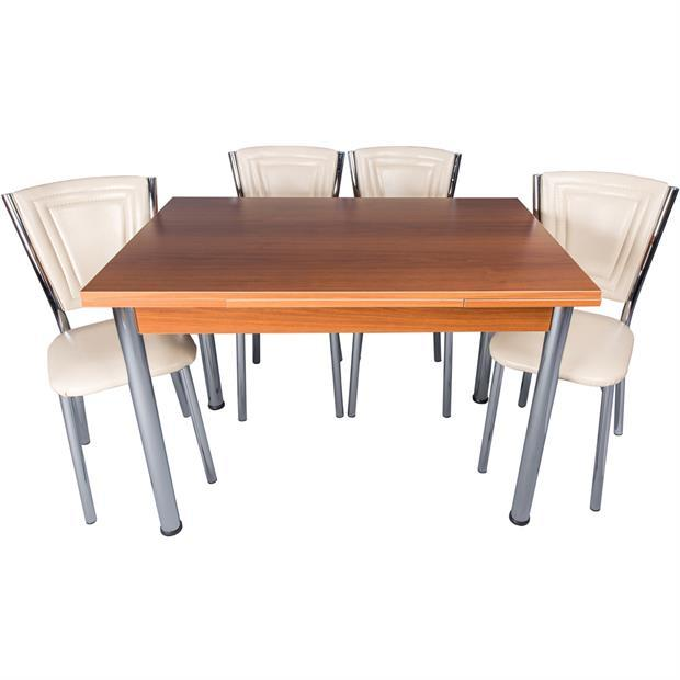 Par-Eco Walnut Table and Chair Set Stitched Cream Ephesus