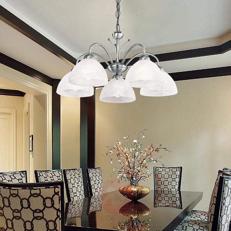 Chrome-coloured Milanese pendant lamp, 5-bulb - Pendant Lighting