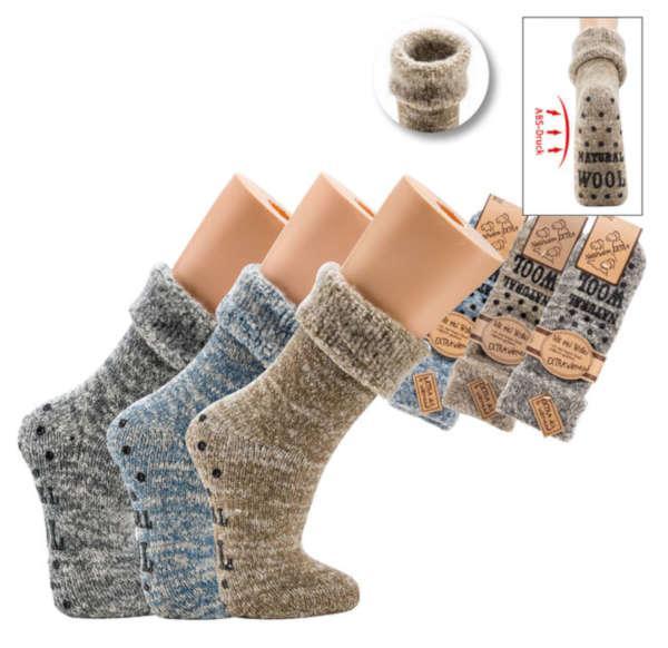 6572 - 63% Wool/Anti-Slip Socks  - very thick roughened quality