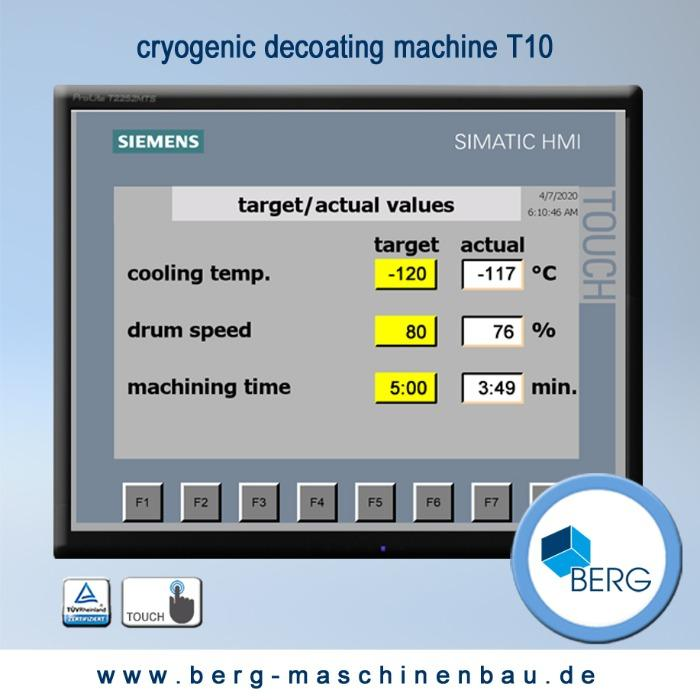 T10 Croygenic decoating machine - for removal of production-related elastomer adhesion – without use of chemicals