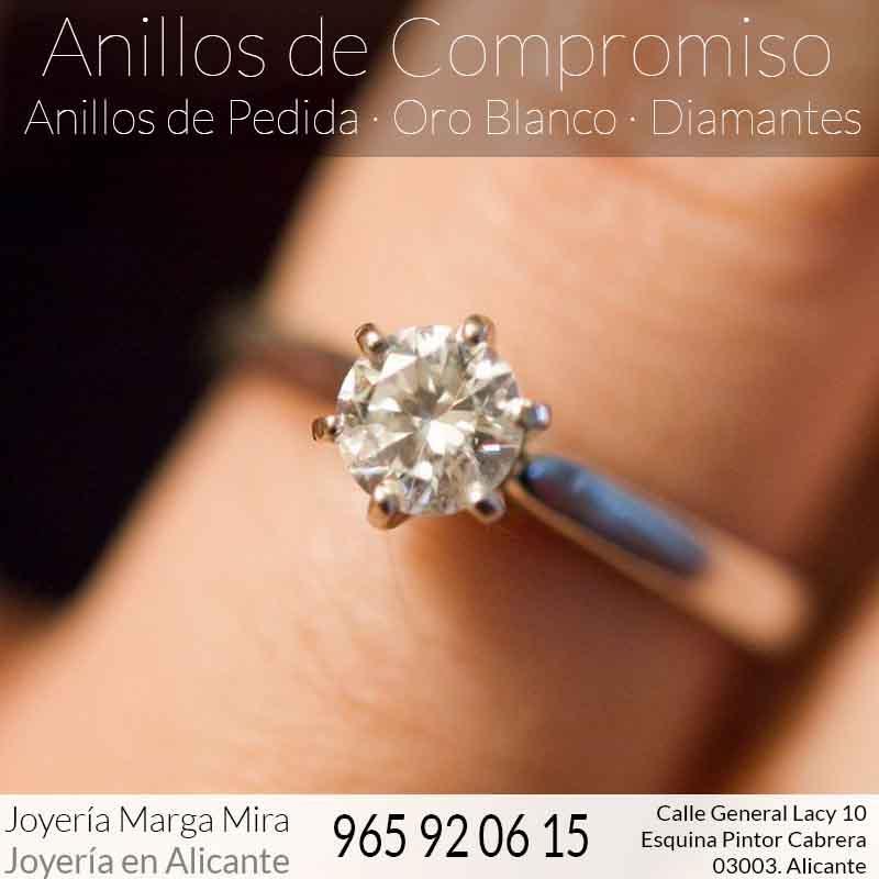 Anillos de Compromiso en Alicante - Anillos de pedida oro blanco y diamantes