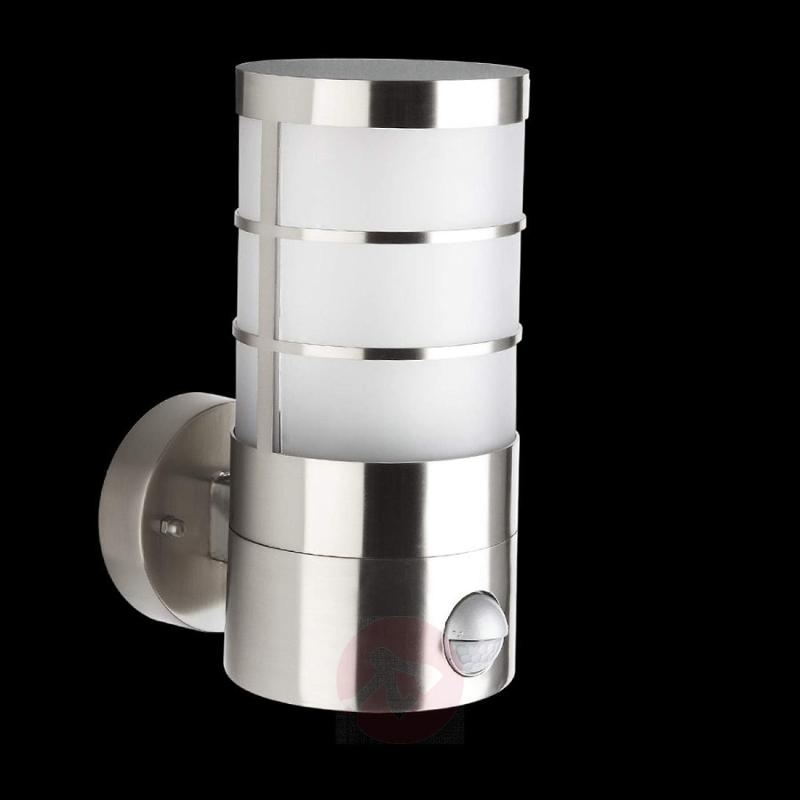 Outdoor wall light Calgary, motion detector, IP44 - stainless-steel-outdoor-wall-lights