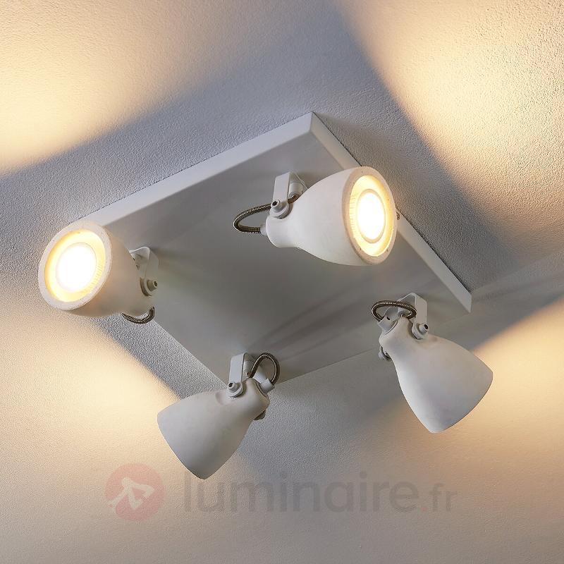 Plafonnier LED carré Kadiga à 4 lampes - Spots et projecteurs LED