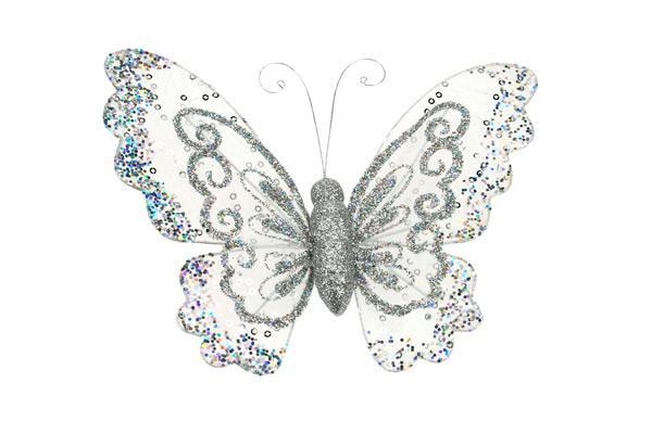 Papillon argent 34 x 25 cm - null