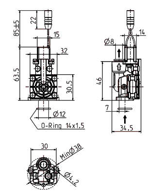 Vanne axiale bistable, DN 7 - 51.007.125 bi
