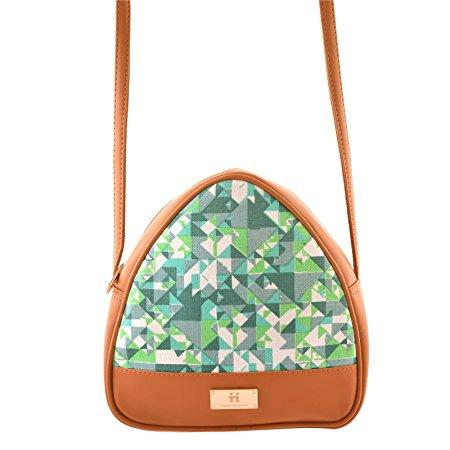 Women's Sling Bag (Turquoise and Tan)