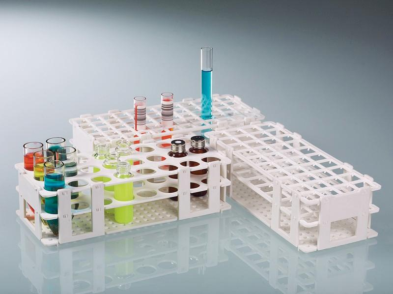 Test-tube racks - PP, white, sterilisable, 24 storing positions, laboratory equipment