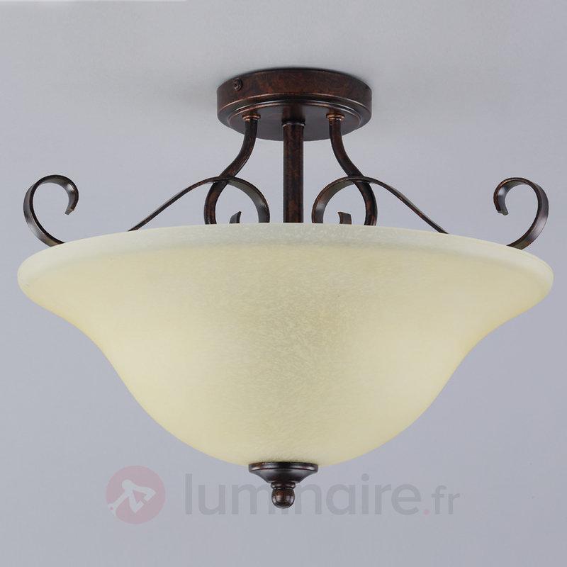 Plafonnier Svera aspect rouille - Plafonniers rustiques