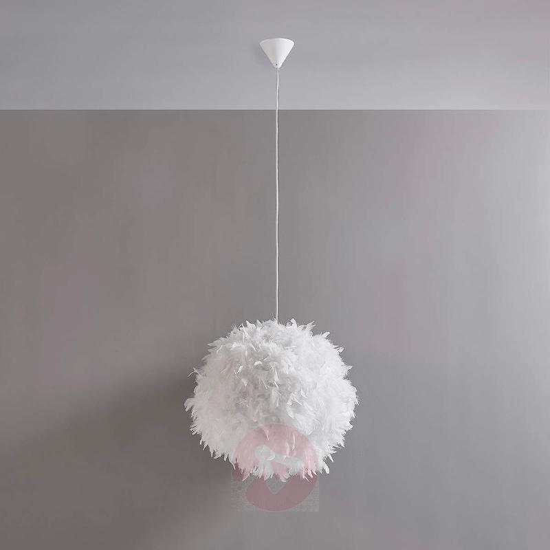 Feather-adorned LED hanging light Pauline - Pendant Lighting