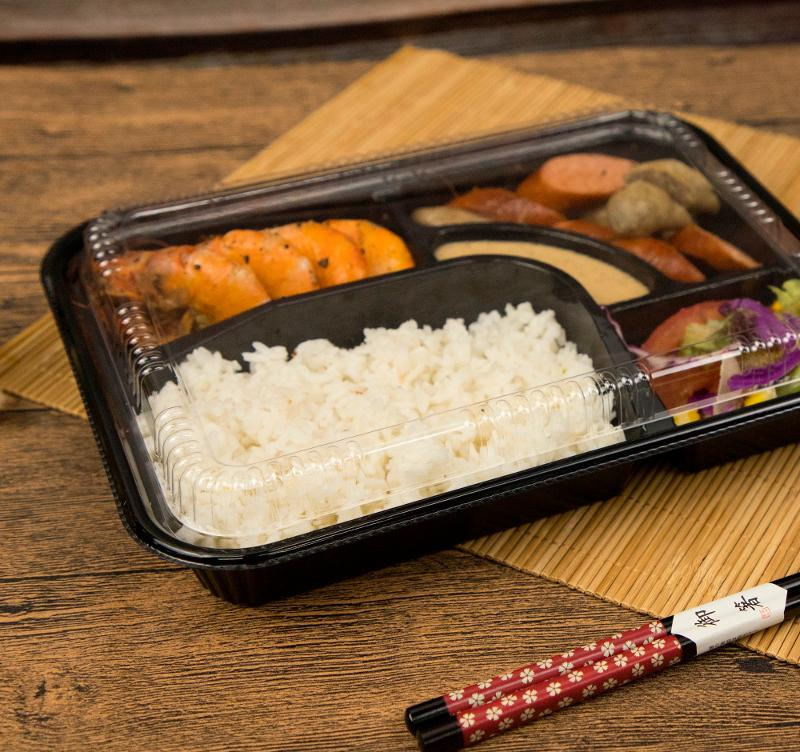 Disposable Takeaway Clear Black Plastic Compartments Food Container - Bento Boxes