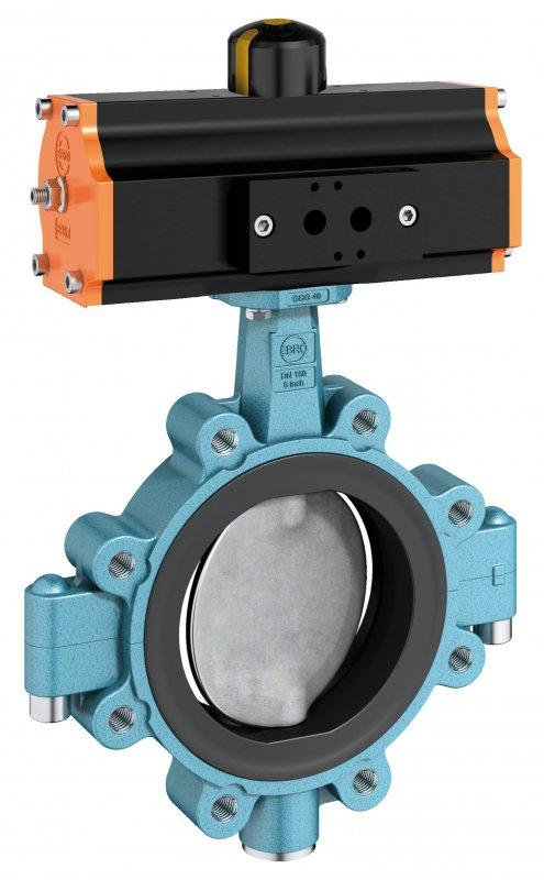 Shut-off and control valve type Z 614-A - Lug type valve with splitted body and disc and shaft in one piece