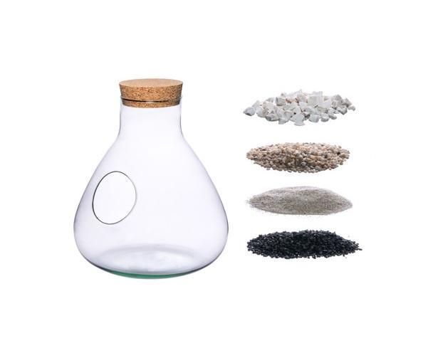 Vase W-378C+side hole+cork+substrate set H:32cm D:29cm - Glasvase mit seitlichem Loch und Korkverschluss aus recyceltem Glas mit Substrat