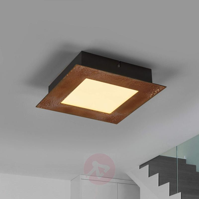 Square LED ceiling light Deno, rust finish - indoor-lighting