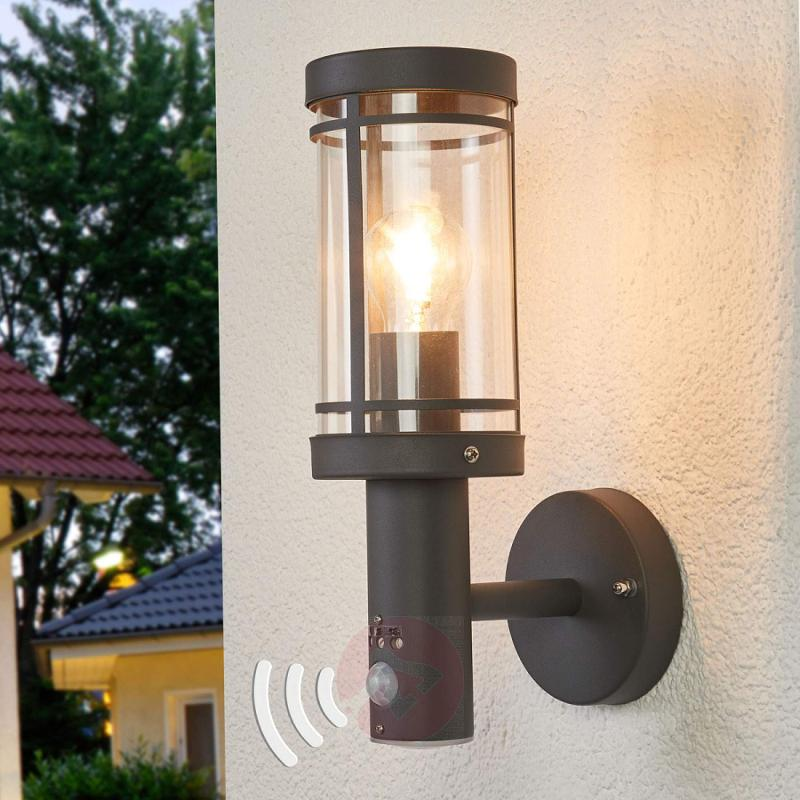 Motion detector wall light Djori for outdoors - stainless-steel-outdoor-wall-lights