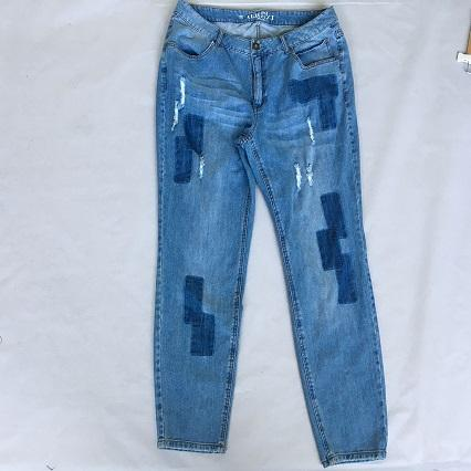 Women's jeans  Stonewashed blue denim trousers -