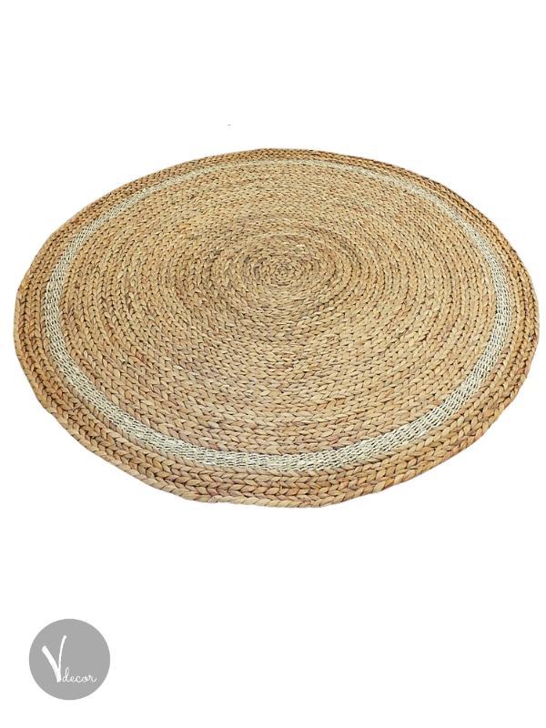 Round Handwoven Water Hyacinth Rug - Shop