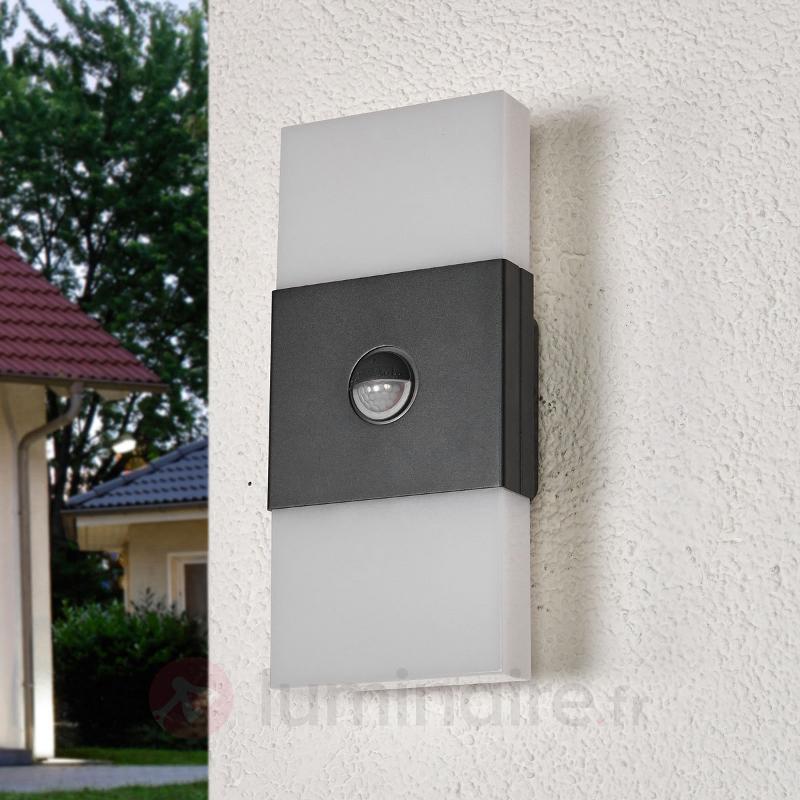Double applique LED Noxlite Lum Wall, détecteur - Appliques d'extérieur avec détecteur