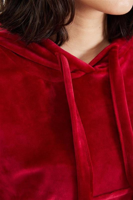 Women's Red Velvet Hooded Sweatshirts - Women's Sweatshirts