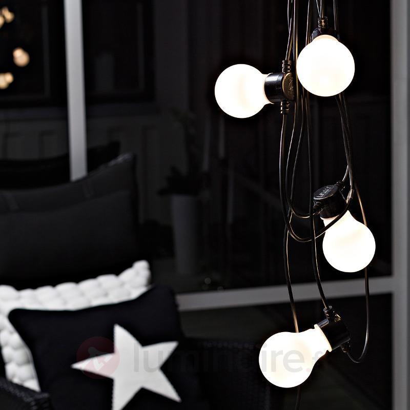 Guirlande guinguette LED opale ext., 10 lampes - Guirlandes de fête d'extérieur