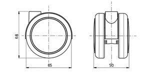 """Reinforced copolymer Die-cast zamak hood """"H"""" type hard - CASTOR EMI Ø mm. 65 """"GEMIOPEN"""""""