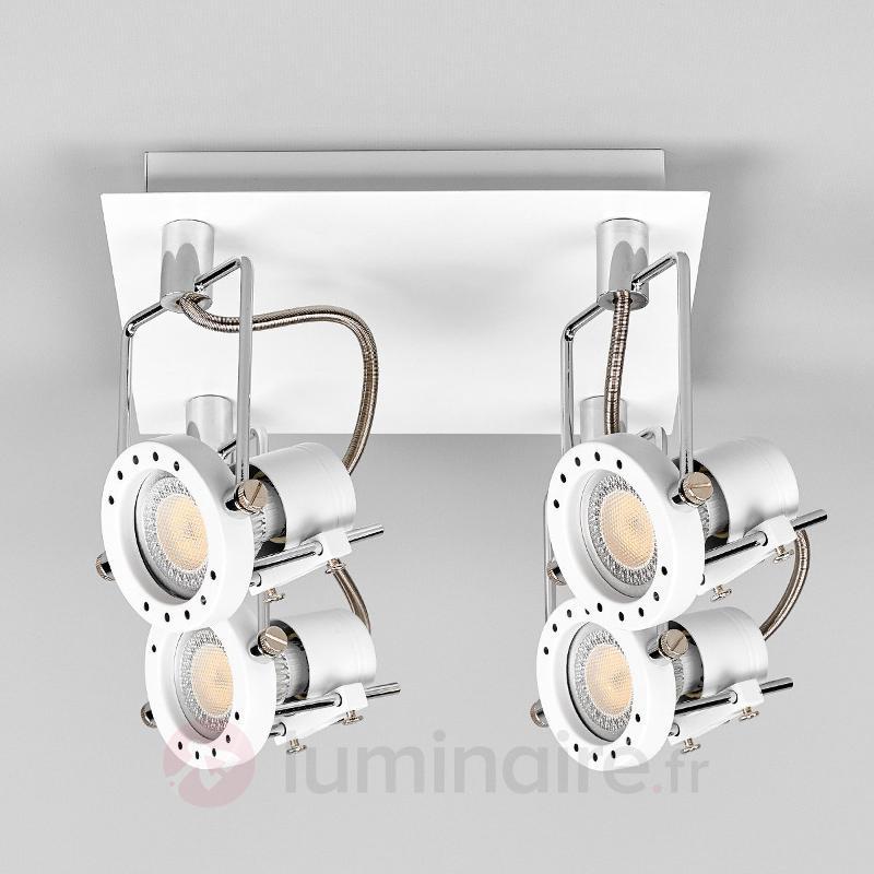 Plafonnier carré LED Agidio, 4 lampes - Plafonniers LED