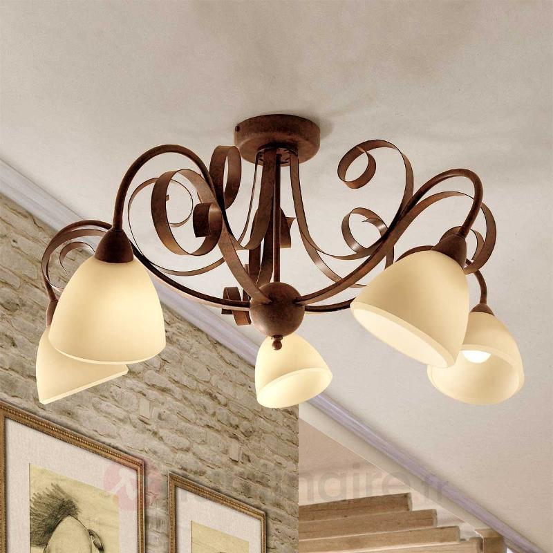 Plafonnier Francesco à 5 lampes - Plafonniers rustiques
