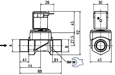 Servo-controlled solenoid valve NC, DN 17 - 01.017.523