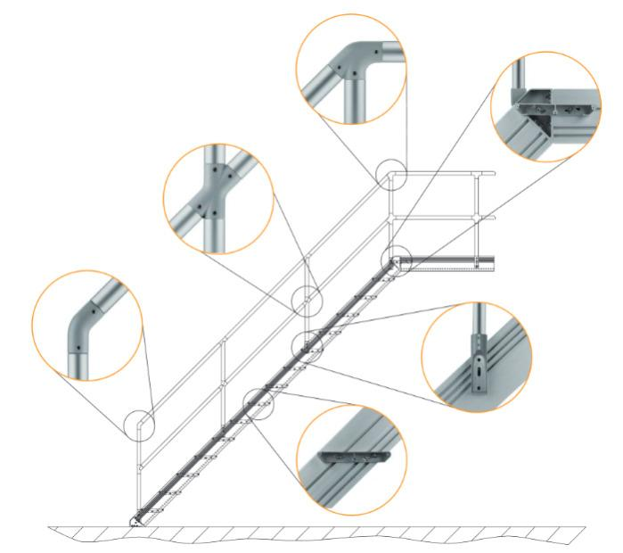 Tube connectors for industrial staircases, railings and work - Connecting tubes easily without annoying transitions