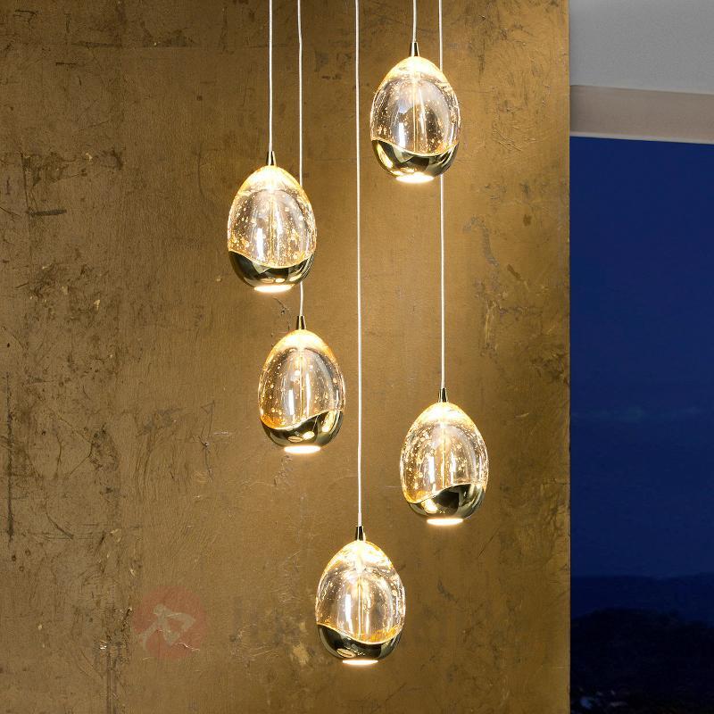 Suspension LED dorée Rocio, 5 lampes - Suspensions LED