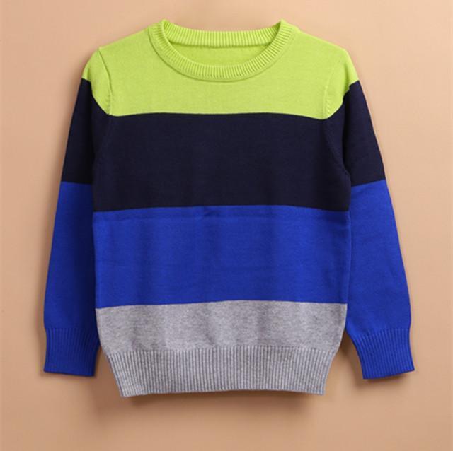 儿童条纹撞色圆领毛衣 -