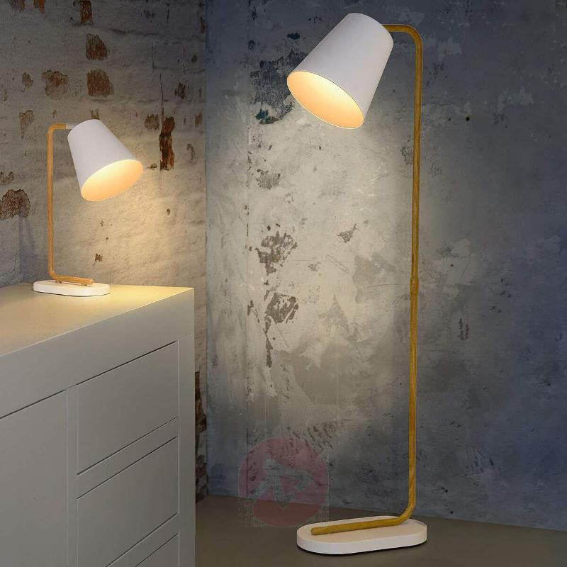 Cona floor lamp with white metal shade - Floor Lamps
