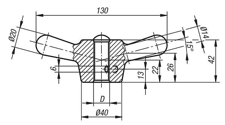 Ecrou à quatre bras - Volants, manivelles et poignées