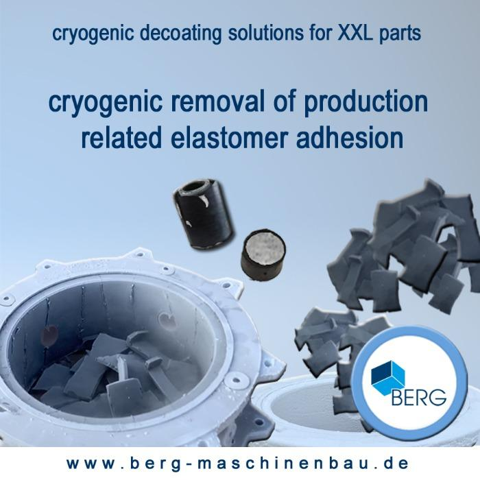 Cryogenic decoating of XXL parts - for removal of production-related elastomer adhesion – without use of chemicals