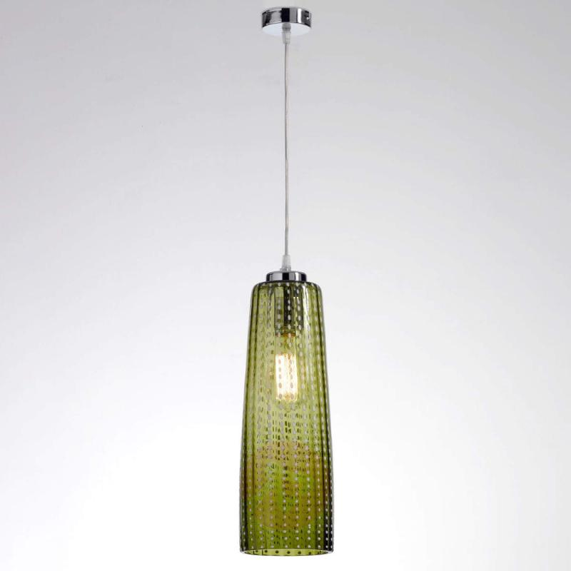 Hanging lamp Perle with apple-green lampshade - indoor-lighting