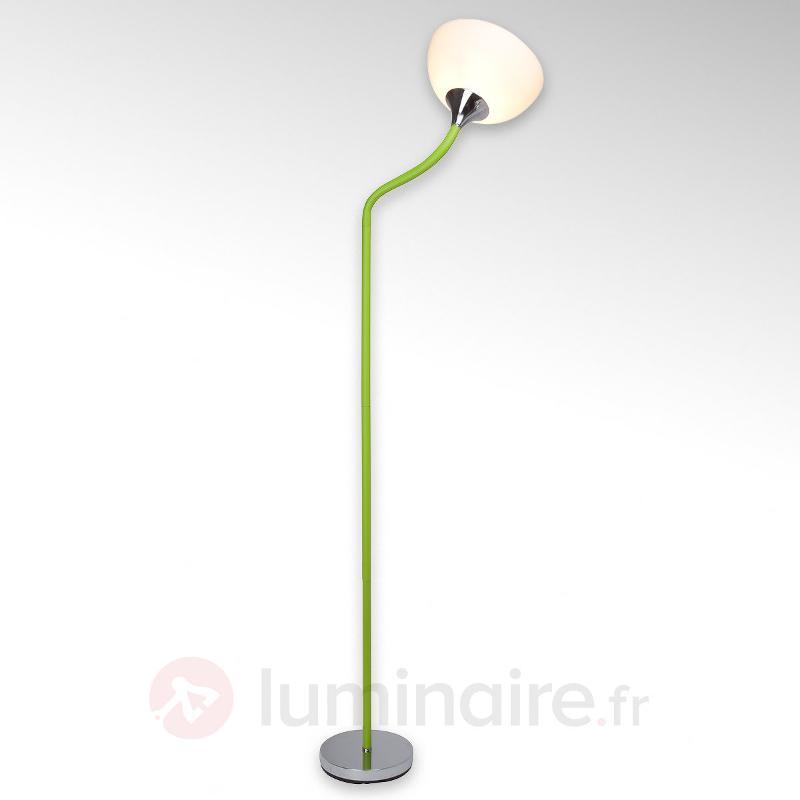 Lucie - lampadaire avec support gainé de vert - Lampadaires à éclairage indirect