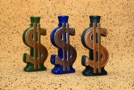 "Ceramic Bottle ""Dollar Sign"" -"