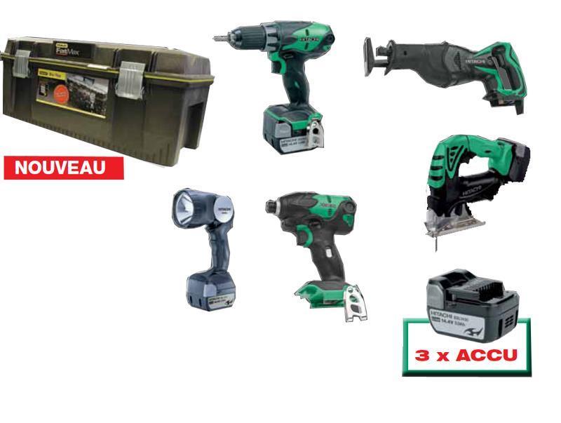 5 machines 14V LI-ION avec 3 accus 3.0AH - null