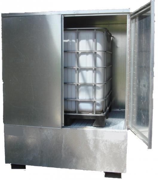 Abri de stockage acier avec portes et bac de rétention... - BRAG 1CCP Bacs de rétention acier et plastique