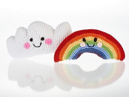 fair trade, handmade baby rattles - handmade, fair trade baby rattles including rainbow and cloud